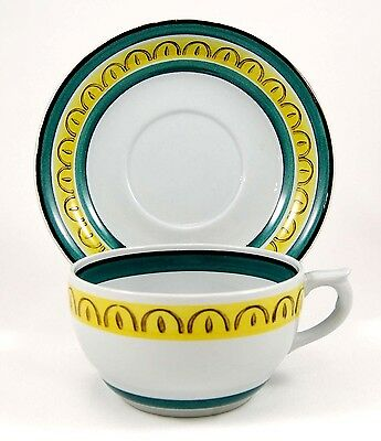 Arabia of Finland CROWN BAND Flat Cup and Saucer Set 2.125 in. Gray Blue Yellow