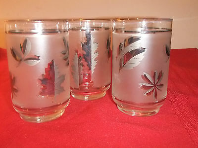 Libbey Rock Sharpe Tumblers Set of 3 Silver Etched Leaves....#2