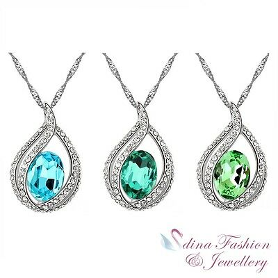 18K White Gold Plated Made With Swarovski Crystal Oval Cut Teardrop Necklace