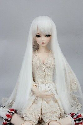 """BJD Doll Hair Wig 6-7"""" 1/6 SD DZ DOD LUTS  Pure White Long Straight"""