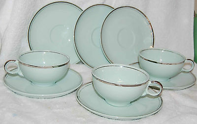 "UNIVERSAL POTTERIES ""BALLERINA MIST"" TURQUOISE CUPS & SAUCERS-3 CUPS/6 SAUCERS"