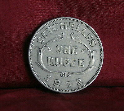1972 Seychelles 1 Rupee Nickel World Coin KM13 Rare Low Mintage Africa