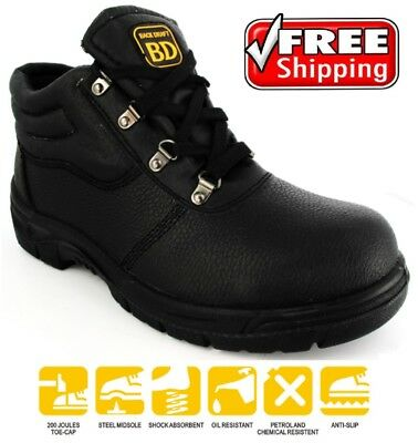 Mens Chukka Black Safety Boots Steel Toe Cap Trainers Leather Midsole Size 4-13