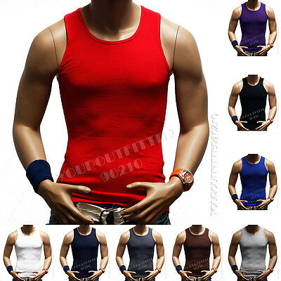 3 pack Men 100% Cotton A-Shirt Top GYM Muscle Ribbed Wife Beater / Tank Top S-5X