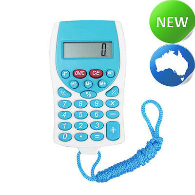 Pocket Calculator with Matching Colour Lanyard - Blue