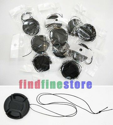 10pcs 52mm Center-Pinch Front Lens Cap + String for Nikon Canon Sony Olympus 10x