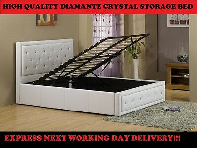 Double 4ft6 Faux Leather Ottoman Storage Bed  Diamante Double Crystal Bed Black