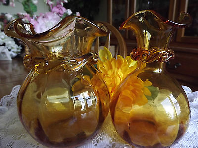 SPECTACULAR Set of Optic Panel~Blown Art~Pilgrim Glass~Amber Vases with Rigarees