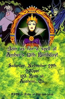 Evil Queen Ursula Maleficent Halloween Birthday Party Invitations favor Villian