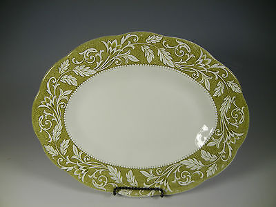 J & G Meakin English Staffordshire STERLING Green Oval Platter 12 in.