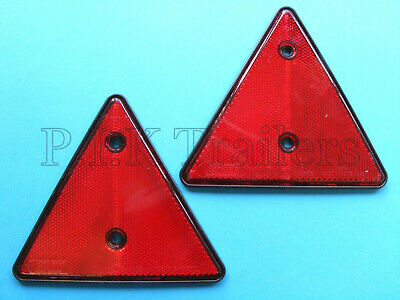 2 x Red Triangle Reflectors for Driveway Gate Fence Posts & Trailers