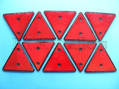 10 x Red Triangle Reflectors for Driveway Gate Fence Posts & Trailer Horse Box