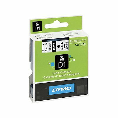 Dymo D1 45013 Black on White S0720530 12mm x 7M  Label Cassette - Genuine -