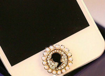 5x 3D Bling Diamond Pretty Girl Home Button Sticker For iPhone 5th,6th,7,7 plus