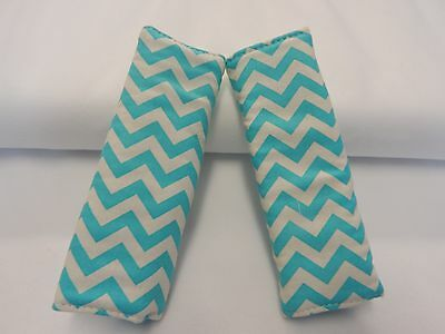Seat Belt Covers Child Car Seat Highchair Stroller Baby Car Seat Accessories Aqua Chevron 1 pair