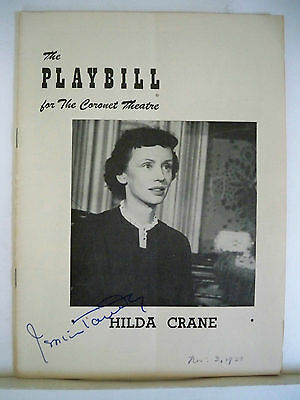 HILDA CRANE Autographed Playbill JESSICA TANDY Opening Night FLOP NYC 1950