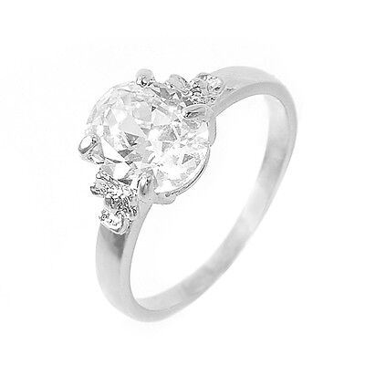 White GP Simulated Stone Solitaire Ring Swarovski Crystal R670W All Size