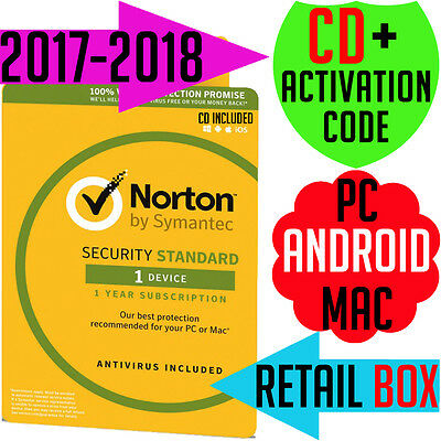 Symantec Norton Internet Security Standard Anti-Virus 2017 PC MAC 1 User 1 Year