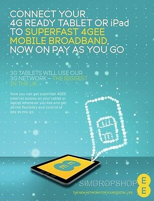 EE 4G Mobile Broadband PAYG Multi SIM Card. Preloaded With 6GB Data