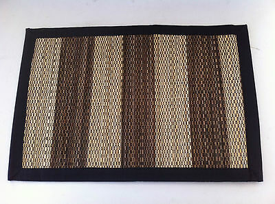 Chocolate and Beige Straw Rajmahal Placemat - 33 x 48cm