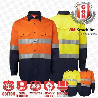 Hi Vis Safety Shirt Cotton Drill Work Wear, Long Sleeve, 3M Reflective, Vents