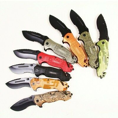 """8"""" inch Steel Assisted Opening Survival Folding Pocket Knife with Glass Breaker"""
