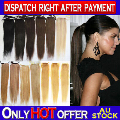"""18"""" Remy Human Hair Ponytail Hair Extension Piece Wig Color Choice"""