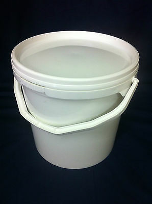 1 X 10 L, Ltr, Litre White Bucket With Choice Of Coloured Lid, Freepost