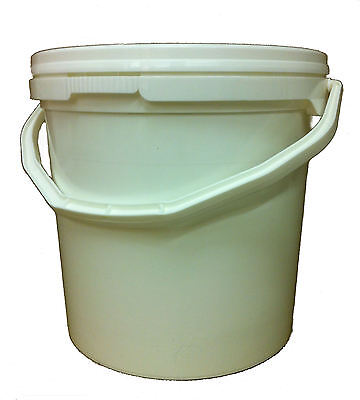 5 X 10 L, Ltr, Litre White Bucket With Choice Of Coloured Lid, Freepost
