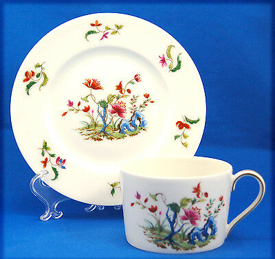 Towle / Royal Limoges MADRAS Flat Cup and Saucer Set 2.25 in. Floral Rim Center