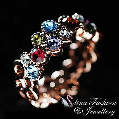 18K Rose Gold Plated Made With Swarovski Crystal Multicoloured Garland Ring