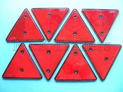 8 x Red Triangle Reflectors for Driveway Gate Posts & Trailers ##2L