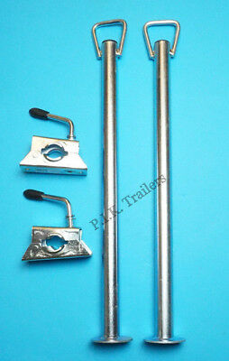 2 x Prop Stands with HANDLE 34mm dia. x 600mm & CLAMPS Trailer Corner Steady