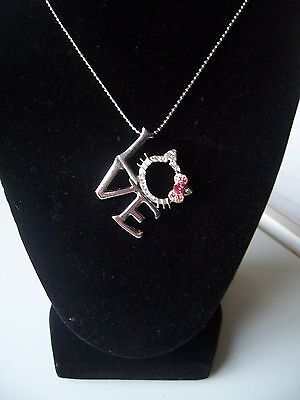 HELLO KITTY LOVE NECKLACE Silver Tone & Rhinestone Face Pink Pave Crystals NEW!