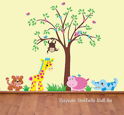 GIRLS & BOYS Wall Decals Baby Room Decor Pastel Colors Safari & Tree ...