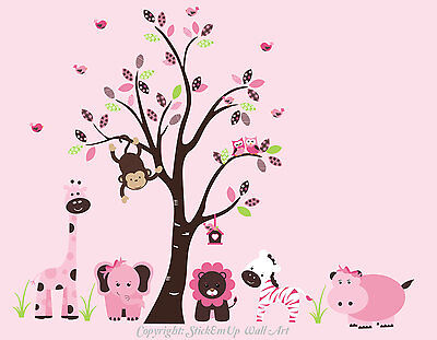 Baby Girls Room Decals - Pink Animal Wall Stickers - Girl Room Decor - Interior