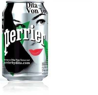 Perrier 2010 Dita Von Teese 330ml can. Full - minor dents from display in store.