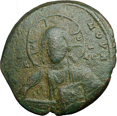 JESUS CHRIST Class A2 Anonymous Ancient 1028AD Byzantine Follis Coin  i33530