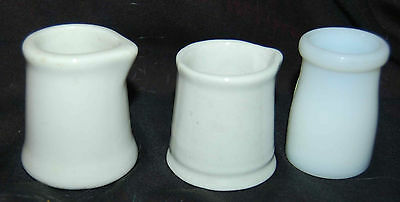 VTG. SYRACUSE CREAMER PLUS TWO OTHER CREAMERS--ONE MILK GLASS
