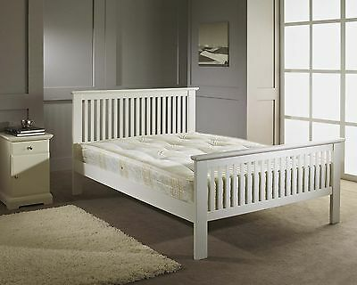 Double Bed Wood Frame 4ft6 White Shaker Wooden Bed + Memory Foam Mattress