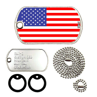 Military Dog Tags - Custom Embossed Flag Tag Set - AMERICAN FLAG w/ Silencers