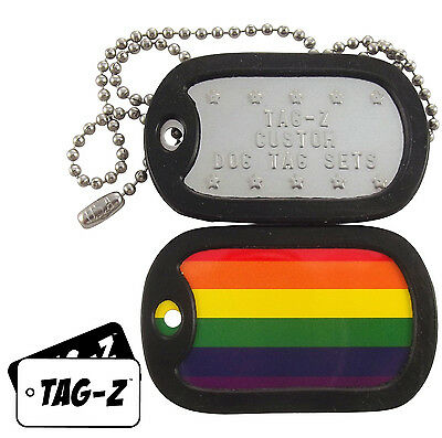 Military Dog Tags - Custom Embossed Flag Tag Set - GAY PRIDE FLAG w/ Silencers