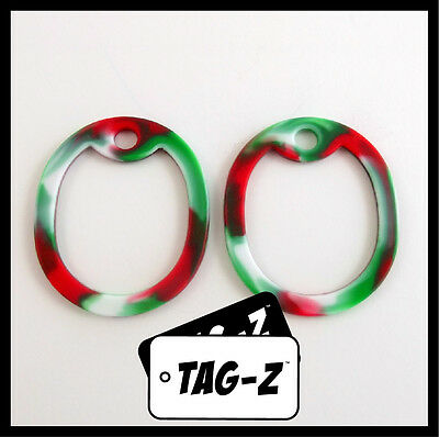 2 Red,White & Green Peppermint Camo Dog Tag Silencers-Military GI Silencer-Tag-Z