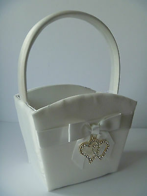 Ivory Flower Girl Basket Diamante Heart & Bow Wedding