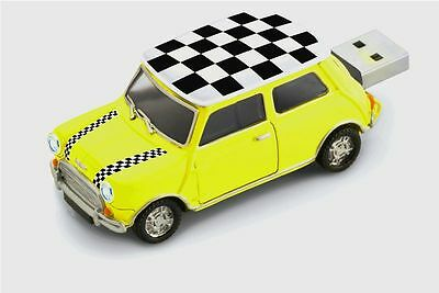 1:48 Classic Mini Cooper USB Flash Drive 8GB – Chequered Roof - Yellow (CHE-YEW)