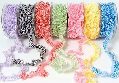May Arts Elastic Gingham Single Frill Ribbon Trim - 18 mm wide - by M any length