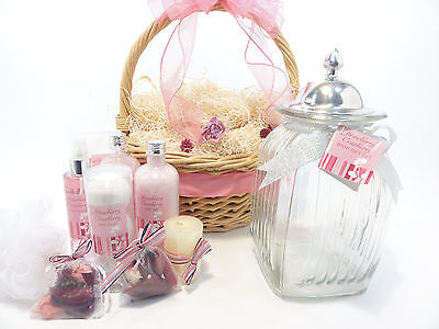 Spa Gift Basket - Strawberry Cranberry Bath Jar