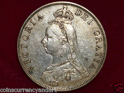 1890 Double Florin Silver Coin UK (Great Britain) Nice Queen Victoria Coin