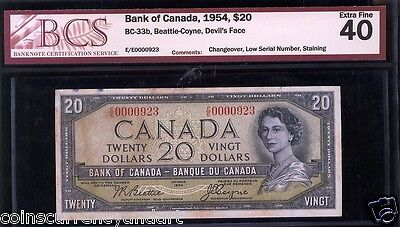 Low Serial Number 923 Bank Of Canada 1954 $20 Devils Face