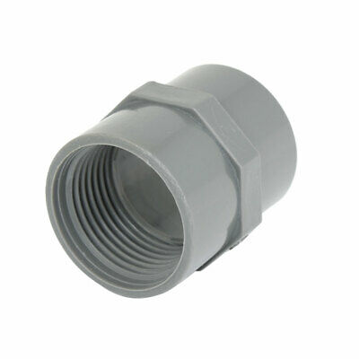 """32mm 1"""" PT Female Thread PVC Straight Pipe Tube Adapter Connector Gray"""